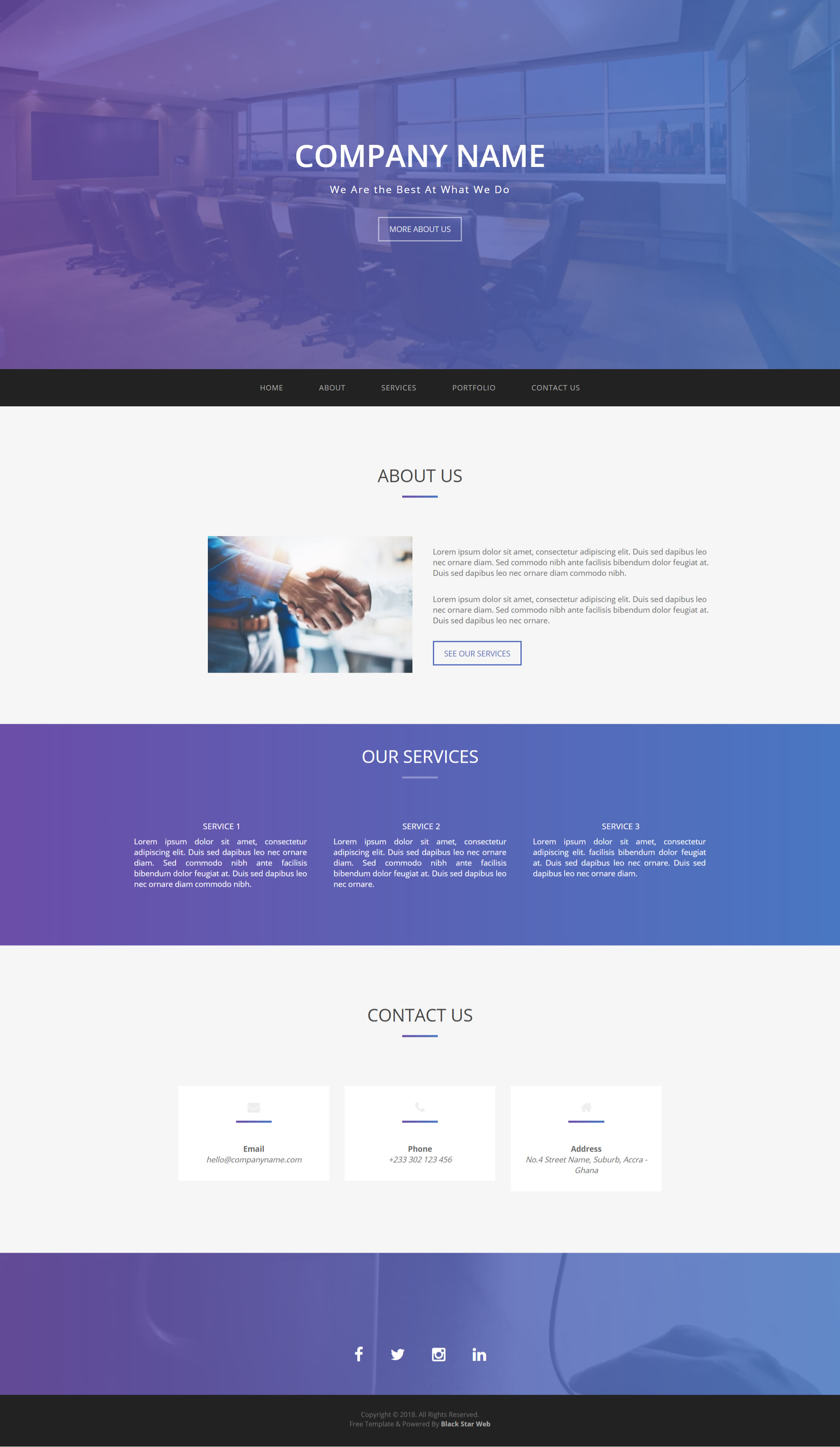 Free Website Template 11 Black Star Web